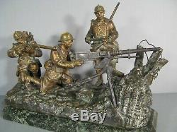 Militaria tranchée poilu soldat mitrailleur statue bronze ancien signé Gillet