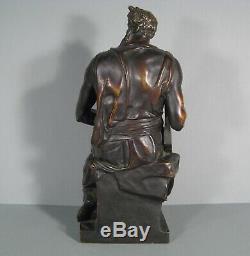 Moïse Sculpture Ancienne Bronze Daprès Michel-ange Réduction Sauvage