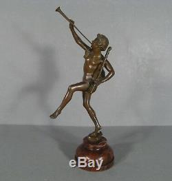 Musicien Joueur De Trompette Ancienne Sculpture Bronze Signée Ernest Rancoulet