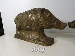 PAIRE DE SANGLIER S sculptures statues anciennes bronze ou laiton Déco Chasse