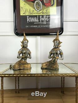 Paire De Statues Asiatique Anciennes En Metal Argenté Et Doré De 39 CM De Haut
