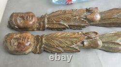 Paire de très anciennes sculptures religieuses en bois 17/18 ème à identifier