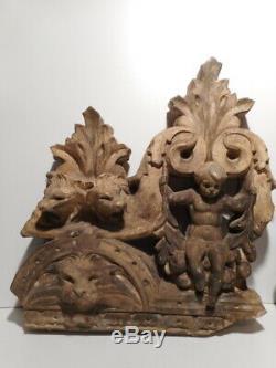 Paire sculpture statue ancienne platre XIX 19 siècle bas relief enfant putti
