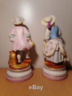 Paire sculpture statue ancienne sujet biscuit porcelaine paris 19 siècle