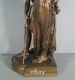 Pan Et Jeune Femme (éros) Sculpture Statue Ancienne Bronze Signé Provin Serres