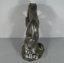 Panthère Sur Un Rocher Ancienne Sculpture Statue Animalière En Bronze Patiné