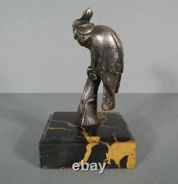 Perroquet Sculpture Animalière Bronze Argenté Ancien Art Déco Signé Charles