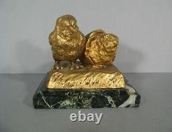 Poussin Sortant De L'oeuf Sculpture Animalière Bronze Ancien Signé Raphanel