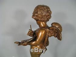 Putto Peintre Sculpture Ancienne En Bronze / Statue Bronze Chérubin Angelot