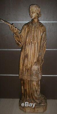 RARE! 120 cm/ANCIENNE STATUE RELIGIEUX/BOIS/ SAINT STEPHANE ETIENNE /XVIIIè-XIXè