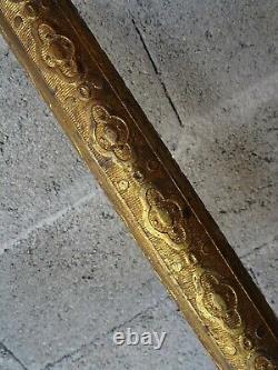 RARE ANCIENNE PAIRE D'ANGE D'EGLISE EN PLATRE PORTE LANTERNE HAUTEUR 152 cm