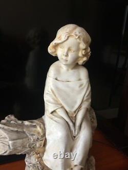 RARE ANCIENNE Sculpture statue Plâtre ENFANT A LA BUCHE de Michel Pascal H 39 cm