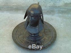RARE ANCIEN ENCRIER STATUE BUSTE PHARAON EGYPTE EN FONTE 19 è numéroté 11928