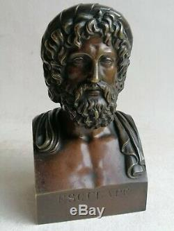 RARE ANCIEN STATUE SCULPTURE BUSTE BRONZE ESCULAPE DIEU MÉDECINE MYTHOLOGIE 19th