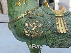 Rare Ancienne Chinois de la Dynastie Qing en bronze doré cheval statue Sculpté