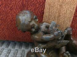 Rare Ancienne Magnifique Statue Auguste Moreau Enfant Avec Jouant Canards Régule