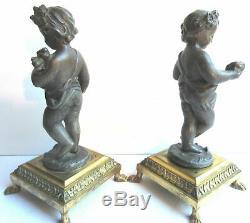 Rare Ancienne Paire de chérubins Napoléon III Paul et Virginie 21 cm