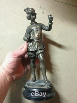 Rare Ancienne Statue Noble En Régule Hauteur 30 CM