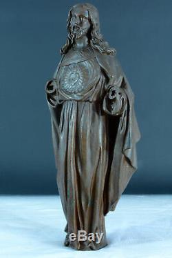 Rare ancienne statue religieuse en bronze Christ au sacré Coeur sculpture
