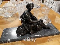 STATUE ANCIENNE TERPSICHORE en bronze 19 ème femme muse lyre