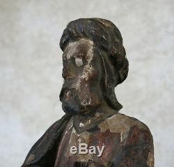 STATUE ANCIENNE, saint, roi mage, Christ, religious, haute époque, 16ème, 17ème
