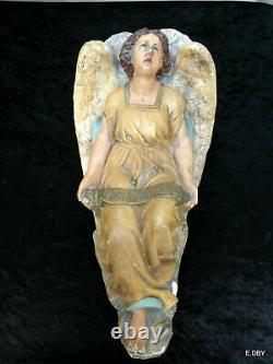 STATUE ANGE ANCIEN EN PLATRE PEINT POLYCHROMIE n° 1 GLORIA INEXCELSIS DEO