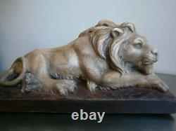 STATUE SCULPTURE ANIMALIERE Lion couché PLATRE ANCIEN DECO St NATURALISTE