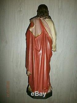 SUPERBE ANCIENNE STATUE RELIGIEUSE/JESUS SACRE-COEUR/TERRE CUITE PEINT/H. 47,5 cm