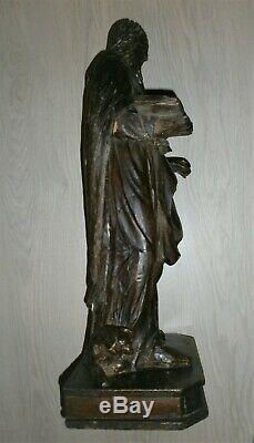 SUPERBE ANCIENNE STATUE/SAINT ANTOINE LE GRAND/FIN XVIII-DEBUT XIXé/BOIS /H. 67cm