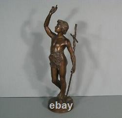 Saint Jean Baptiste Ancienne Sculpture Religieuse Bronze Signé Émile Laporte