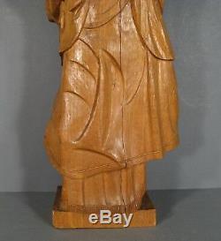 Sainte Sybille Ancienne Grande Statue En Bois Sculpté / Sculpture Sainte Sybille