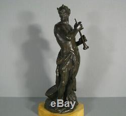 Satyre Musicien Ancienne Sculpture Bronze Statue En Bronze Faune