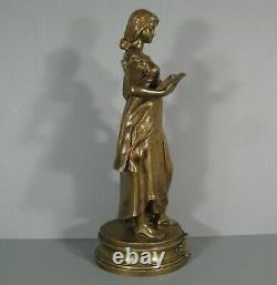 Science Sculpture Allégorique Femme A La Lecture Bronze Ancien Signé Levasseur