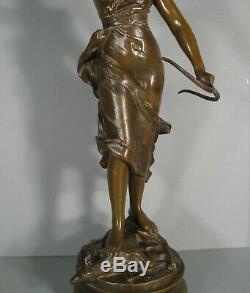 Sculpture Ancienne Bronze Diane Chasseresse Artémis Signé Levasseur