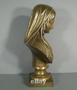 Sculpture Ancienne Buste En Bronze Vierge Marie Société Des Bronzes De Paris