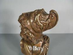 Sculpture Ancienne Buste Guerrier Grec Ulysse Homère Casque Décor Centaure