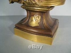 Sculpture Ancienne Buste Jeune Femme Bronze Signé Grégoire Houdebine (greuze)