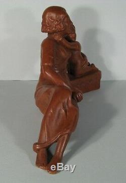 Sculpture Ancienne En Pltre Mère Et Son Enfant / Statue Pltre Maternité Signée