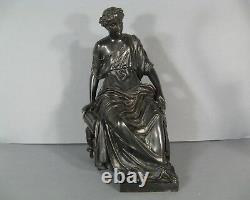 Sculpture Ancienne Femme Drapée A L'antique Signée Pras