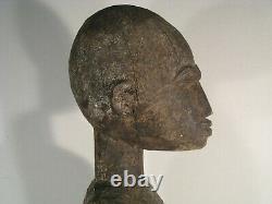 Sculpture Ancienne Grande Statue Bois Femme Debout Burkina Faso Ethnie Lobi