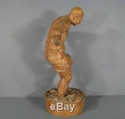 Sculpture Ancienne Vendangeur Terre Cuite Signée Albert David / Statue Vigneron