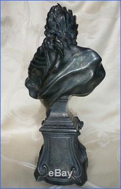 Sculpture Rare Ancien Buste du Roi Louis XV en Bronze Argenté XVIII-XIX eme