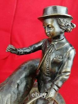 Sculpture, Statue Bronze Ancien, Enfant au Cerceau avec Son Chien