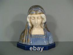 Sculpture Statue Buste Ancien Vierge Marie Madone Céramique Signée Gambogi