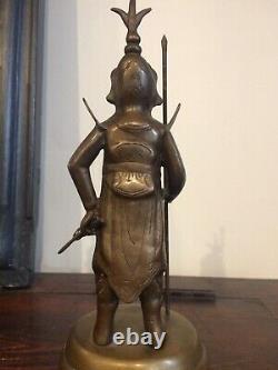 Sculpture Statue bronze Ancien, Soldat Mongol, XIXéme Asie