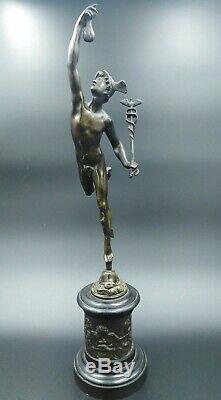 Sculpture ancienne bronze Mercure Jean de Bologne dieu Mythologie romaine