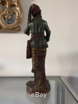 Sculpture ancienne orientaliste terre cuite dlg Le Guluche / Goldscheider XIXème