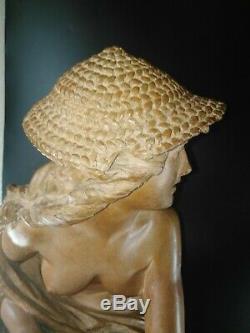 Sculpture ancienne terre cuite nu féminin Carrier Belleuse 72 cm Napolitaine