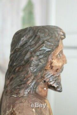 Sculpture bois personnage religieux saint sculpture ancienne hauteur 63 cm 5,6kg