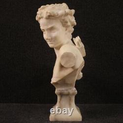 Sculpture française statue signée en albâtre buste de garçon style ancien